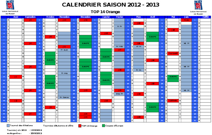 Calendrier 2012-2013 TOP 14