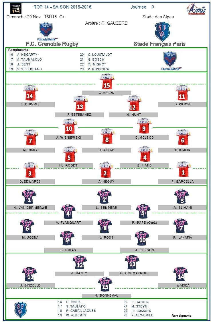 Top14-J9, Stade vs Grenoble : les compositions