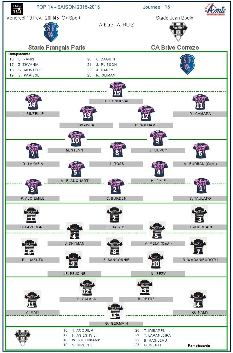 Top14-J15, Stade vs Brive : les compositions