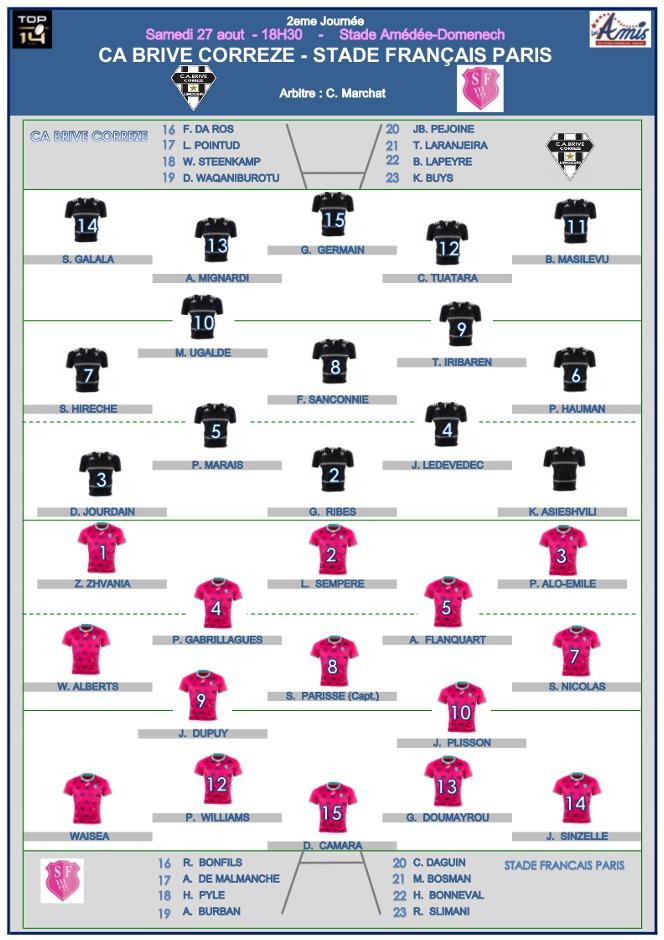 Top14 - j2, Brive vs Stade : les compositions