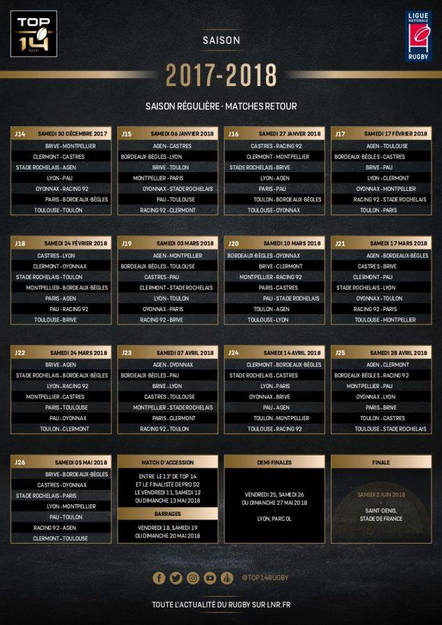 Calendrier Top 14 saison 2017-2018